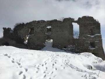 castle with snow - mondragone castle with snow