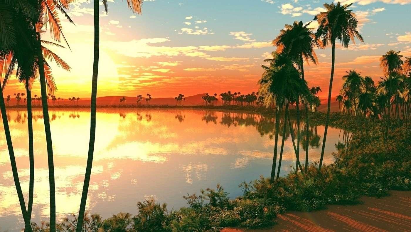 le coucher du soleil - puzzle de paysage coloré (10×10)