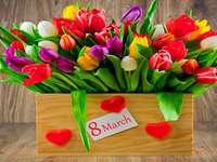 Kvinnors dag, färgglada blommor