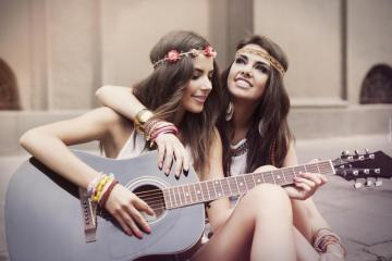 A friend with a guitar - these are two friends with a guitar