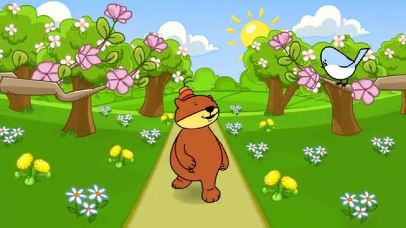Bear - Misiodroga. Spring picture. Spring puzzles. Spring puzzles for children - spring Teddy bear. Teddy bear on the walk looking for signs of spring (2×3)