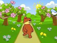 Mackó tavaszi puzzle gyerekeknek - Misiodroga. Tavaszi kép. Tavaszi rejtvények - mackó és színes virágok gyerekeknek. Tavaszi rej