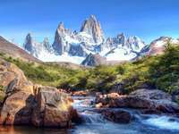 mountain landscape - mountains, river, snow-capped peaks