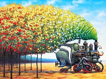 pociąg jesienny - surrealistyczne malowanie. Układanka obrazkowa.
