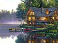 Cottage on the river - colorful jigsaw puzzle