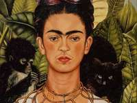 Frida Kahlo - self-portrait with cat and monkey
