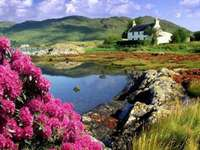 mountain landscape - spring landscape, flowering trees, cottage by the lake