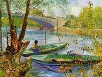 Lente vissen - bron, water, visser