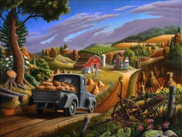 Sielski krajobraz - wieś, droga, ciężarówka