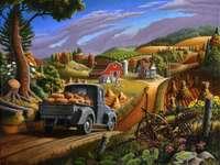 Idyllisch landschap - dorp, weg, vrachtwagen