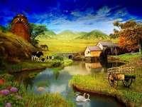 Idyllisch landschap 2 - Landelijk landschap. Dorp, weg, bloemen, water. Landschap boerderij, koe.
