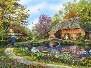 Spacer nad wodą - woda, mostek, dróżka, domy