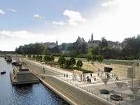De hoofdstad boulevard - Warschau, Wisła, aan het water, boulevard