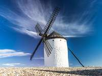 Windmill against the sky.