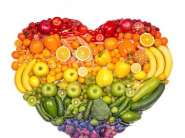 Healthy food - heart of fruits, vegetables and rainbow!