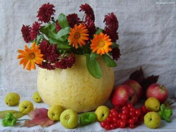 owoce c.d - owoce pigwy ,jabłka i kwiaty