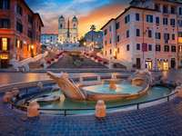 Romeinse fontein - Della Barcaccia fontein in Rome