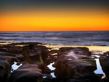 zachód słońca - zachód słońca, morze, krajobraz nadmorski