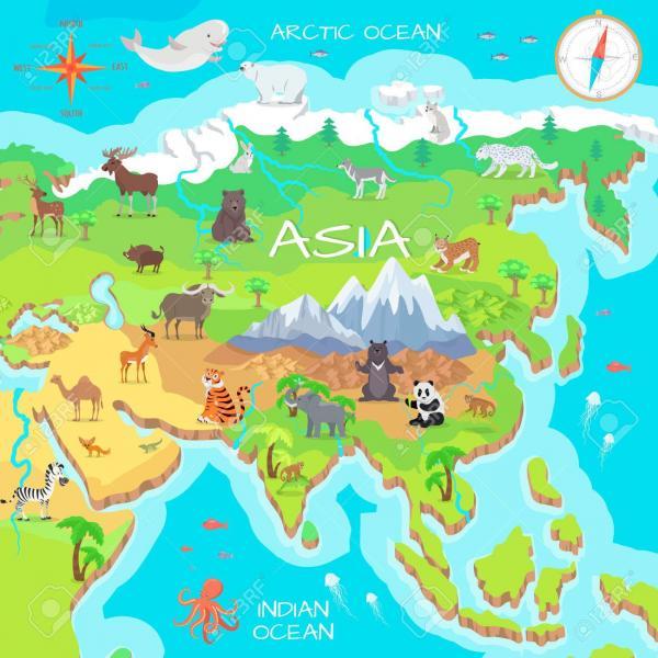 ázsiai kontinens - Ázsia, a kontinens térképe (3×3)