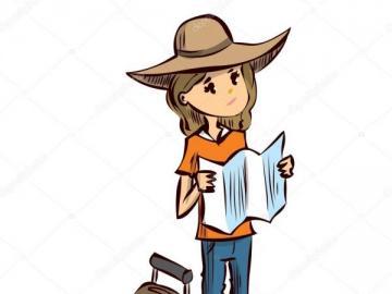 Tourist mit einer Karte - ordnen Sie den Charakter des Touristen bei einem Spaziergang ein