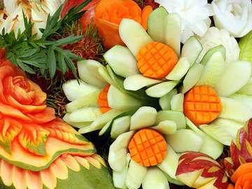 Kwiaty z warzyw i owoców - Kwiaty z warzyw i owoców, bukiet.