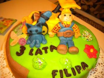 tort Bob Budowniczy - tort dla dziecka z postaciami z bajki Bob Budowniczy