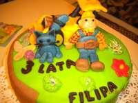 Bob the Builder cake - tårta för ett barn med karaktärer från sagan Bob the Builder