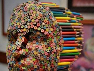 volto umano - volto umano con matite colorate