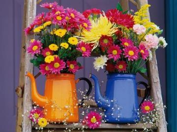 Kwiatuszki - Kwiatuszki w kolorowych konewkach.