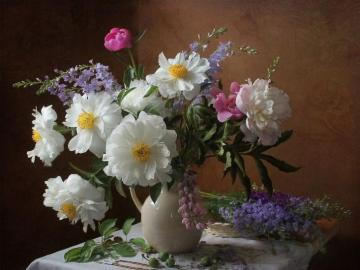 Composition with flowers. - Composition with flowers on the table with a cloth.