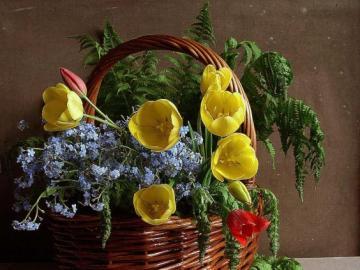 Tulipany. - Żółte tulipany, kompozycja.