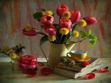 Tulipany. - Czerwone tulipany, kompozycja.