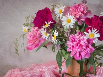 Flowers and cherries - Beautiful flowers and ripe cherries.