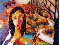 A. Wach - Land van slaap - schilderen, kleuren, fantasie. Foto puzzel.
