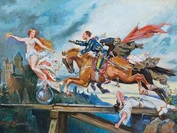 Zygmuntowicz - Sanie - romantyczny obraz. Układanka obrazkowa.