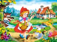 Malfitano - Puzzle na Czerwonym Kapturku z tylko 3 kartami. Najlepsza strefa łamigłówek dla dzieci.