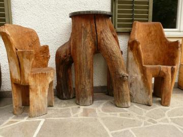 wood sculpture - wood furniture on the patio