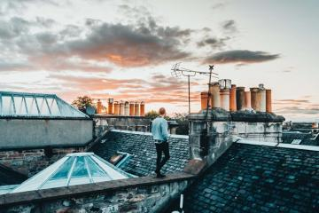 On the roof - A beautiful photo showing a man on the roof