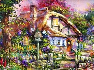 Ein Haus in einem Landgarten. - Ländliche Landschaft Garten.