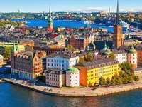 Panorama de la ciudad - Ciudad portuaria. Rompecabezas de colores.