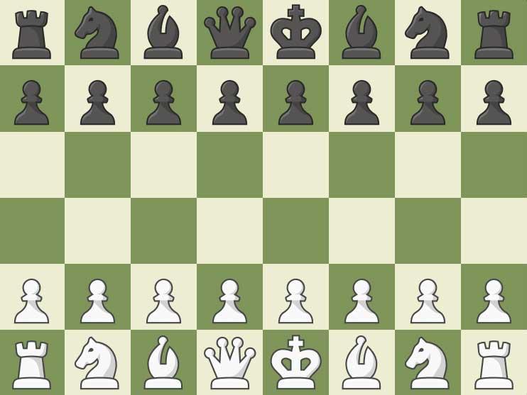 Schaakbord 2 - Schaakbord met items gerangschikt in de startpositie. denkspelletjes (5×5)