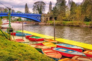 Colorful boats. - Colorful boats on the river.