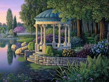 Malerei. - Pavillon im Park am Teich.