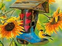 Slunečnice - barevné skládačky