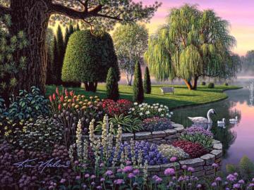 Malerei. - Garten. Schwaene Blumen.