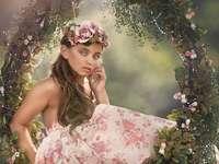 Lány és virágok