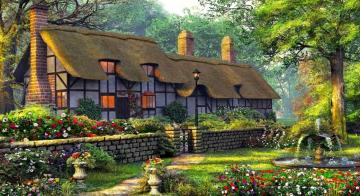 Cottage with garden - colorful jigsaw puzzle