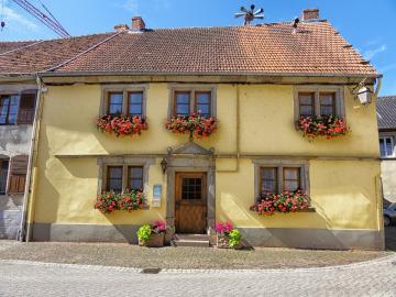 Fleurs dans les fenêtres. - Fleurs dans les fenêtres à Sarrewerden. France.