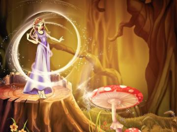 extremely - fairy in the forest and fly agaric