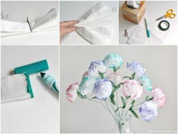 Diy - zrób to sam - Kwiatki zrobione z chusteczek, białe róże